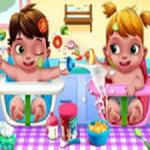 Baby Twins Caring Day